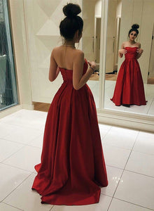 Red A lien strapless long prom dress, red evening dress