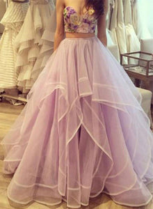 Sweetheart two pieces tulle long prom dress, formal dress