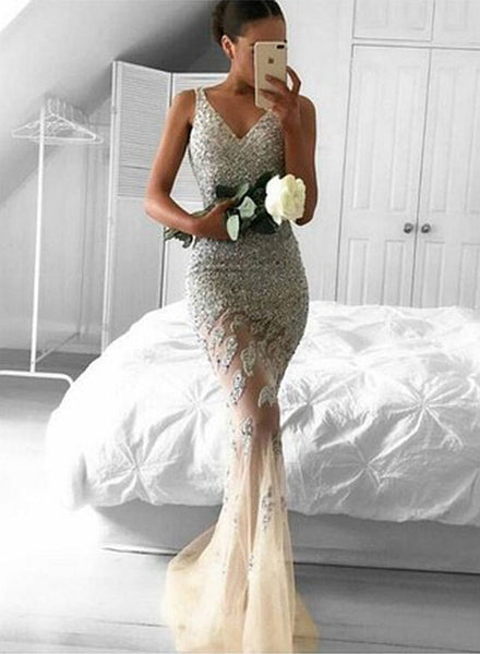 Mermaid v neck lace beading long prom dress, formal dress