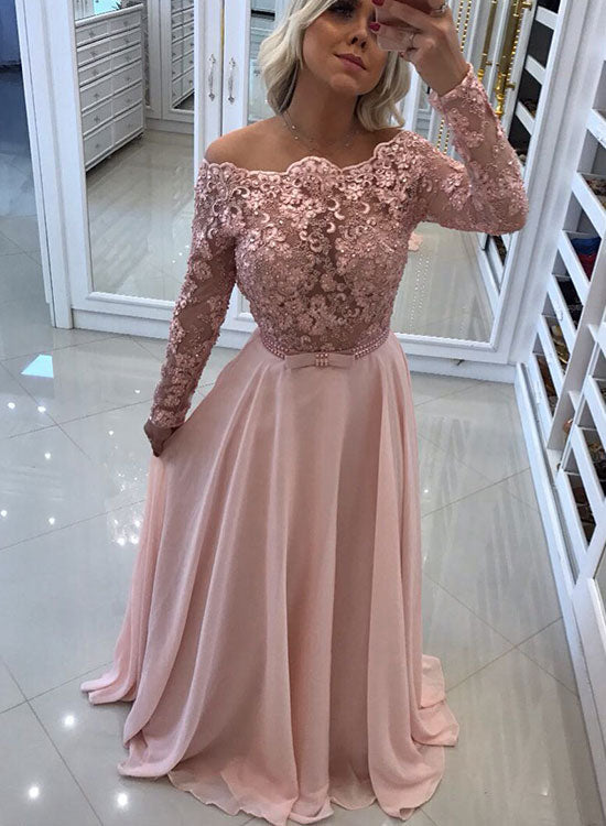 pink lace long prom dress long sleeve evening dress � trendty