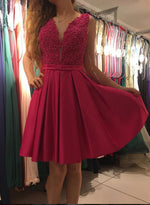 Red v neck short prom dress, homecoming dress