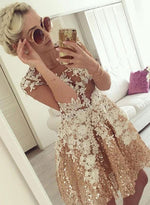 Mini A line lace sequins prom dress, homecoming dress