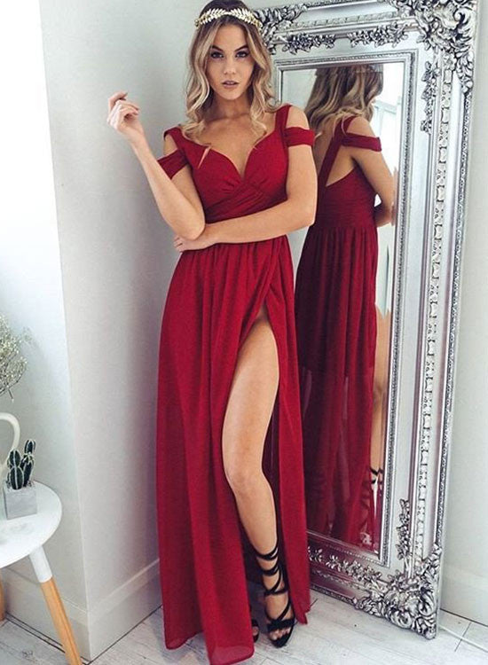 Red A line chiffon off shouldeer long prom dress, red evening dress