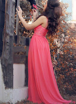 Red sweetheart neck chiffon lace long prom dress, red evening dress