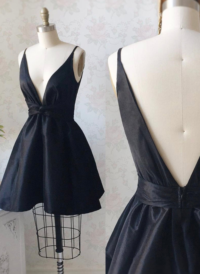 Black v neck satin short prom dress hoco dress
