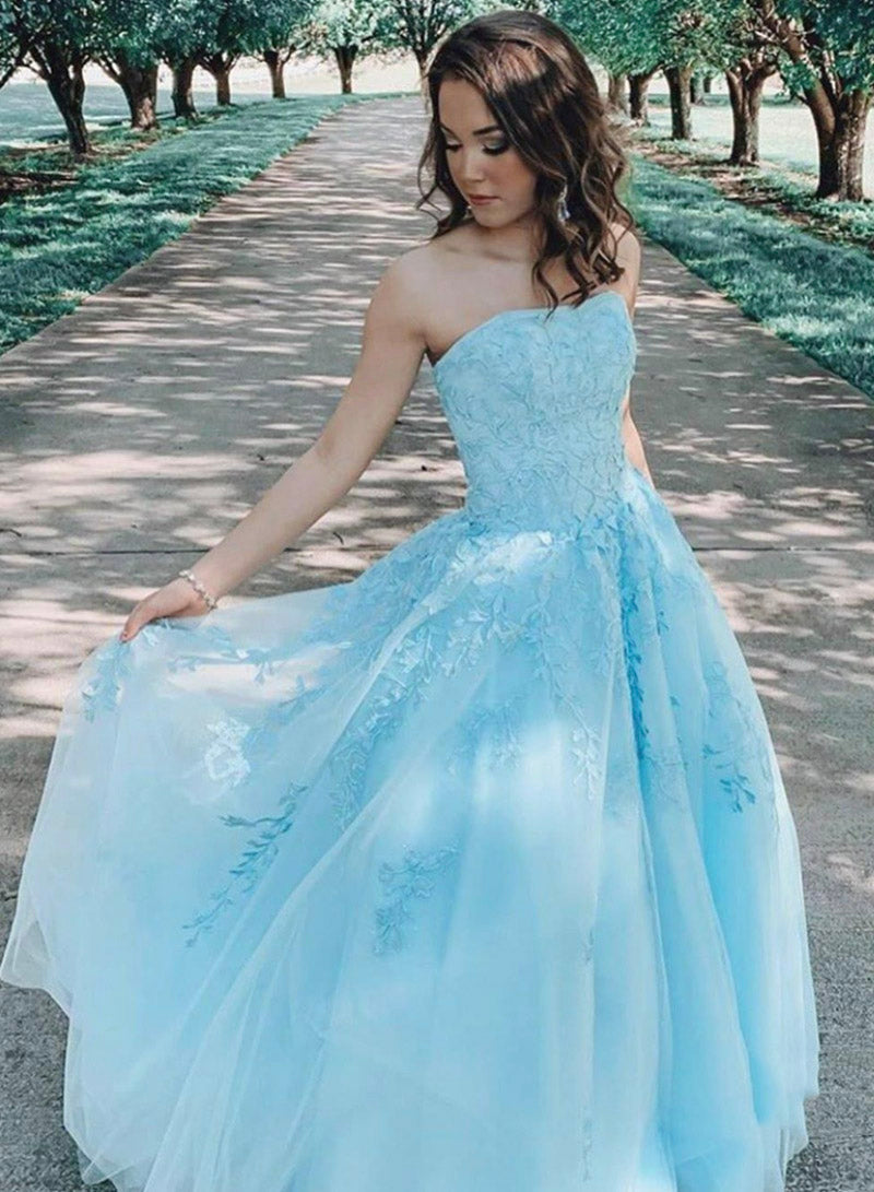 Blue lace strapless prom dress formal gown