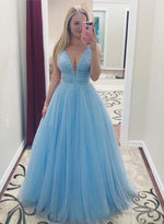 Sky blue v neck tulle long prom dress, evening dress