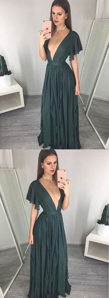 Dark green v neck long prom dress, formal dress