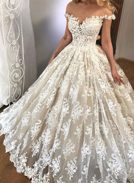 Amazing white lace off shoulder long prom gown, wedding dress – trendty