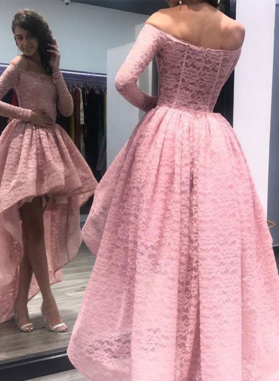 Pink high low lace long sleeve prom dress, lace evening dress