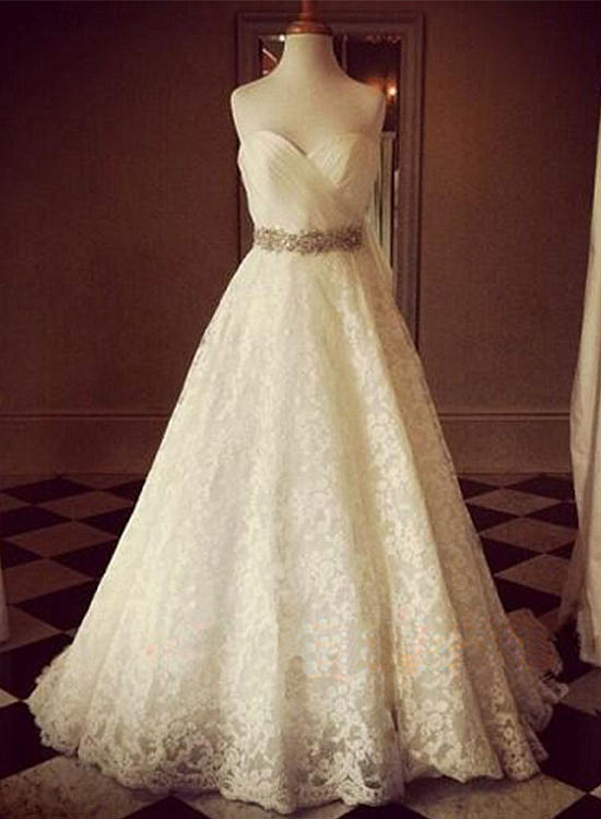 Custom made white sweetheart neck long prom dress, wedding dress