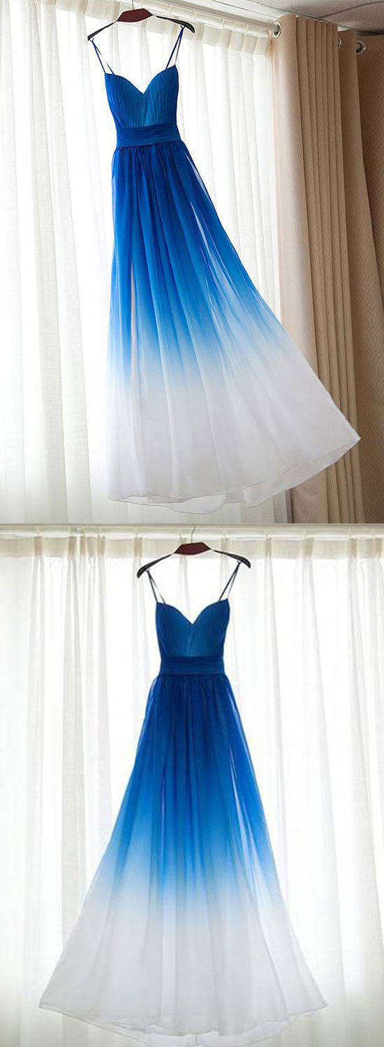 Simple royal blue v neck chiffon long prom dress, evening dress