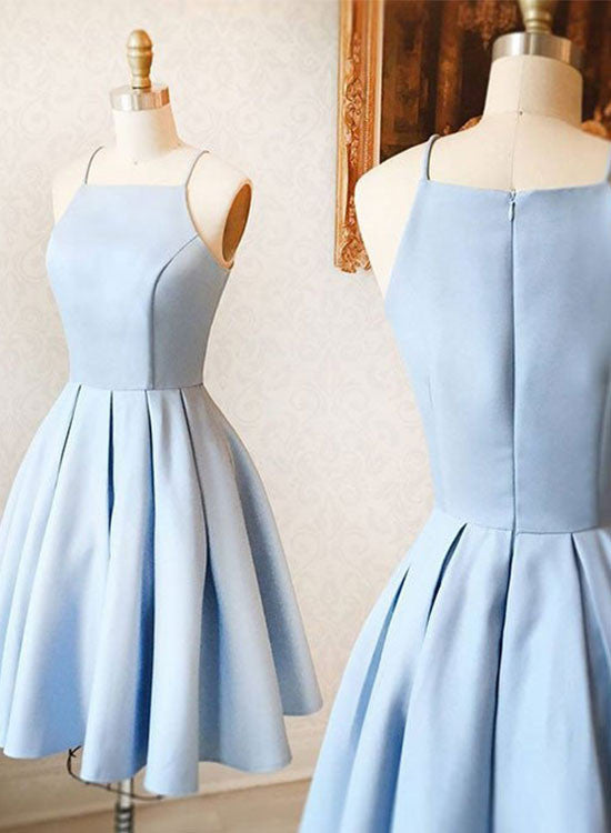 Simple blue satin short prom dress, homecoming dresses