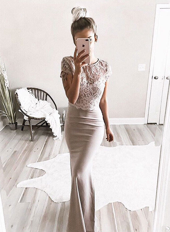 Stylish short sleeve lace long prom dress, mermaid evening dress