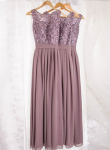 Dusty purple lace chiffon long prom dress, bridesmaid dress