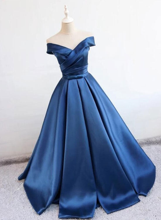 Dark blue v neck long prom dress, evening dress
