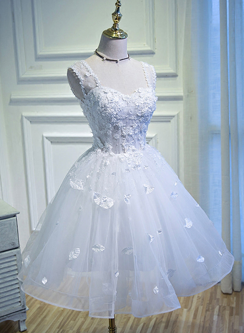 White lace tulle long prom dress cocktail dress