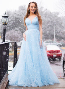 Blue v neck tulle long prom dress party dress