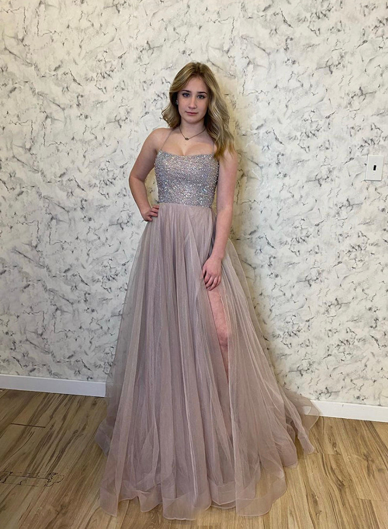 Stylish tulle beads long prom dress evening dress