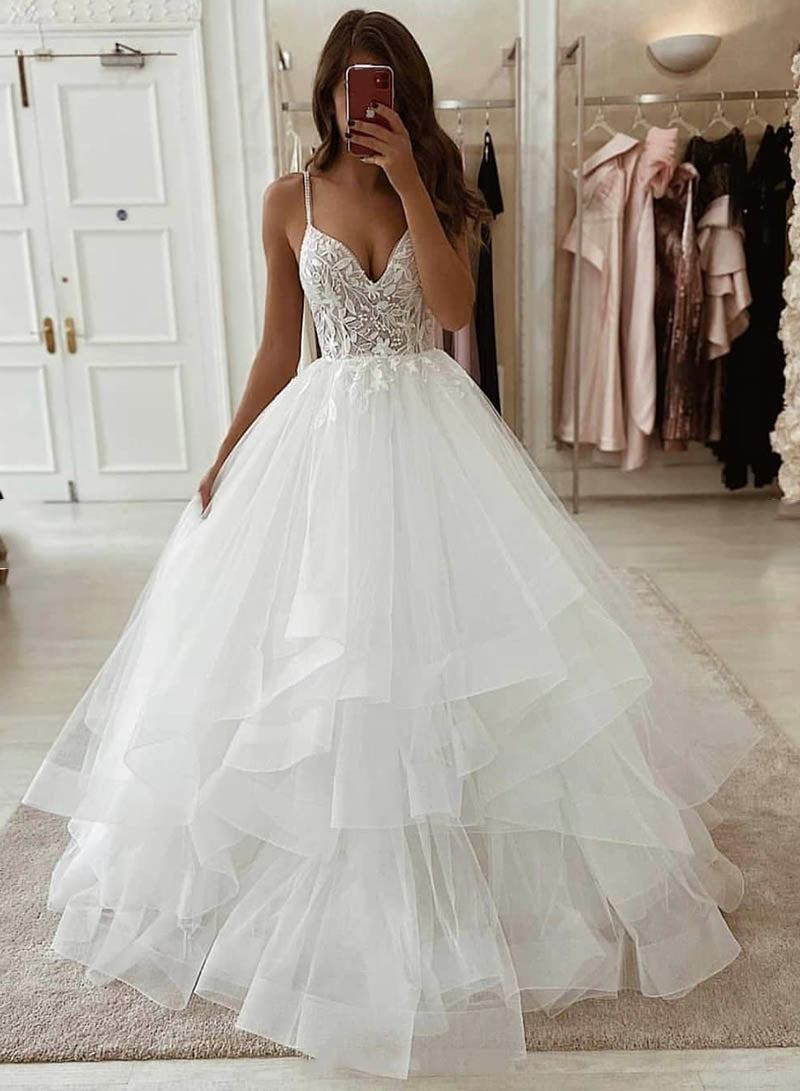White tulle lace long prom gown formal gown