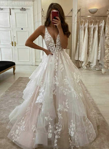 Custom made v neck tulle lace long prom gown
