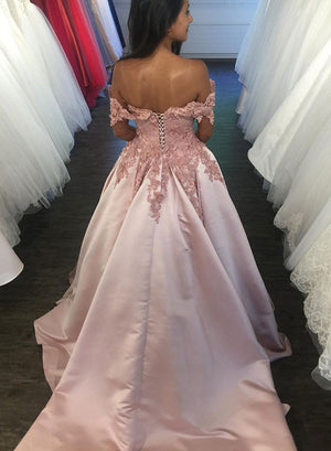 Pink sweetheart neck lace long prom dress, pink evening dresses