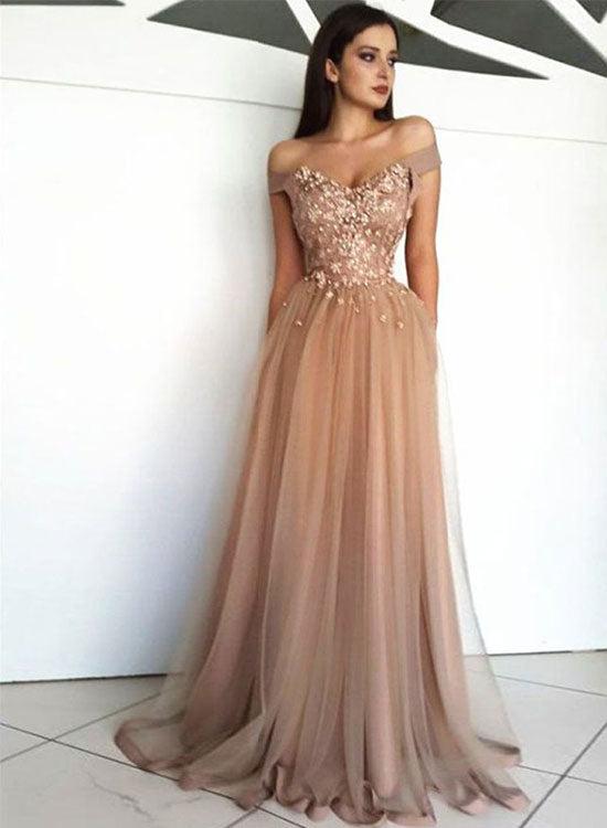 Stylish tulle beads long prom dress, evening dress
