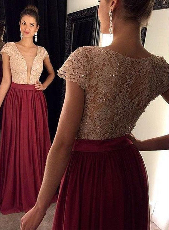 Stylish lace long prom dress, burgundy evening dress