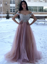 Stylish tulle lace long prom dress, off shoulder evening dress