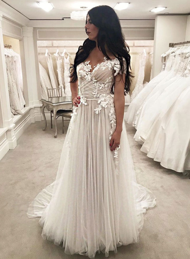 White tulle lace off shoulder long prom dress, evening dress