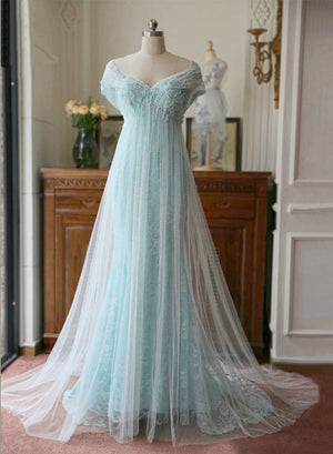 Light blue lace off shoulder long prom dress, formal dress