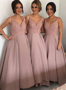 Blush pink v neck long prom dress, bridesmaid dresses