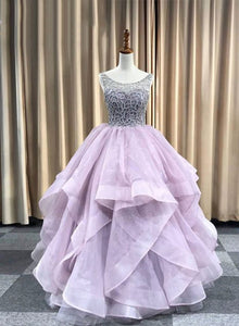 Lilac tulle long prom gown, evening dress