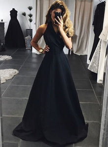 Stylish black long prom dress, black evening dress
