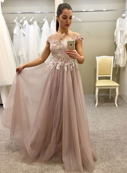 Champagne lace tulle long prom dress, champagne evening dress
