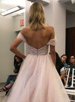 A line off shoulder tulle long prom dress, evening dress