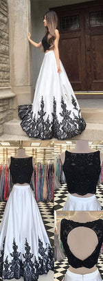 Black and white lace long prom dress, two pieces evening dress
