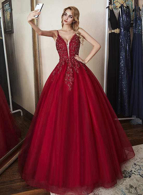 Burgundy v neck tulle long prom dress, burgundy evening dress