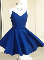 Cute v neck satin short prom dress, homecoming dress