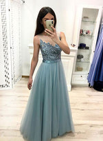 A line tulle lace long prom dress, evening dress