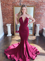 Mermaid long prom dress simple evening dress