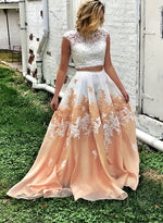 Two pieces lace long prom dress, lace evening dress