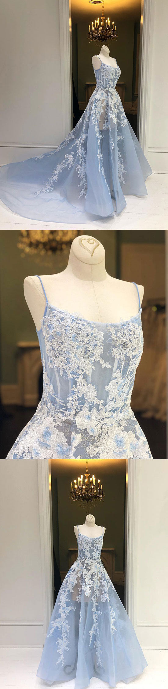 Light blue lace long prom dress, lace evening dress