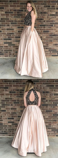 Champagne two piece long prom dress, formal dress