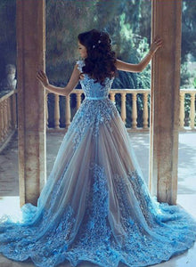 Blue long prom gown, blue evening dress, formal dress