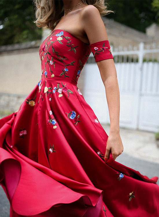Red long prom dress, red evening dress