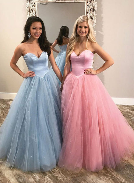 Stylish sweetheart neck tulle long prom dress, formal dress