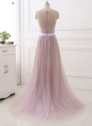 Unique tulle beaded long evening dress, evening dress