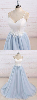 Simple v neck baby blue long prom dress, evening dress