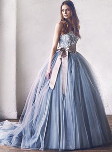 Gray lace tulle long prom gown, lace evening dress